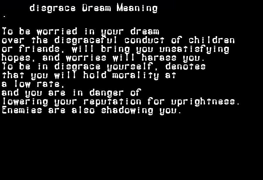 dream meanings disgrace