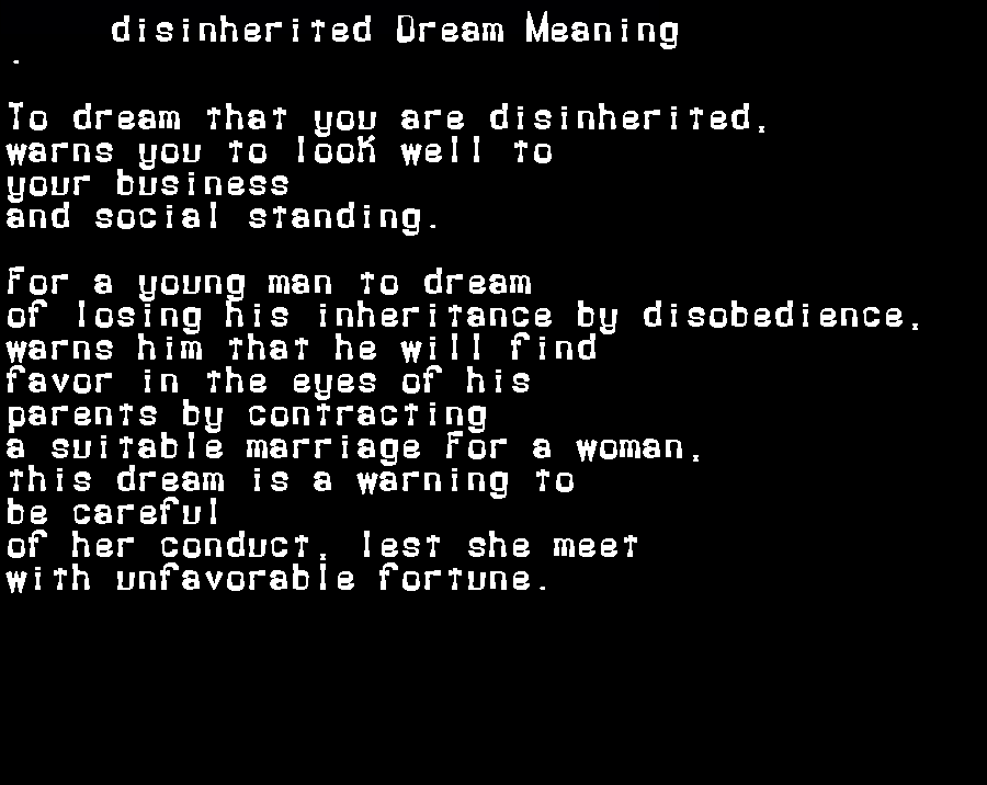 dream meanings disinherited