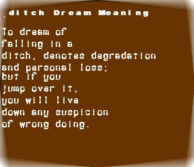 dream meanings ditch