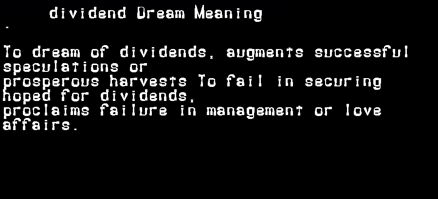 dream meanings dividend