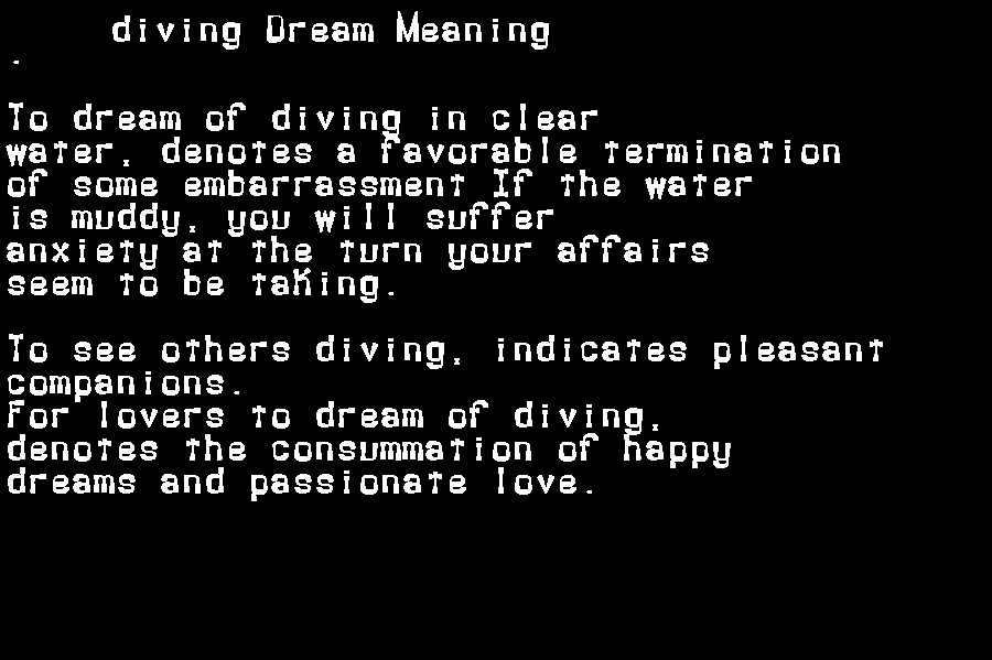 dream meanings diving