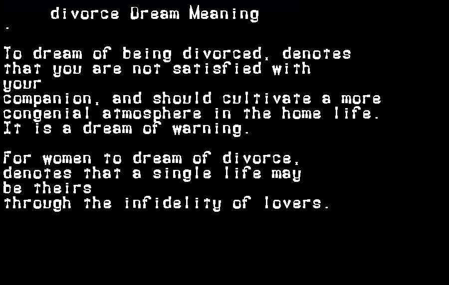 dream meanings divorce