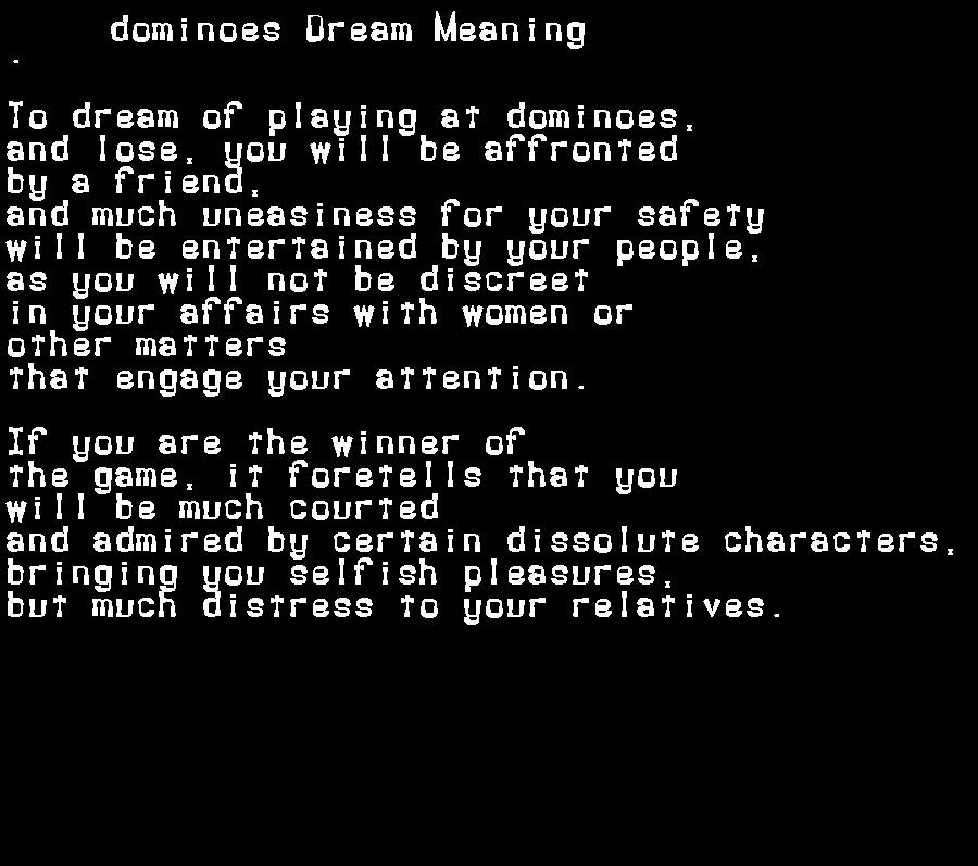 dream meanings dominoes