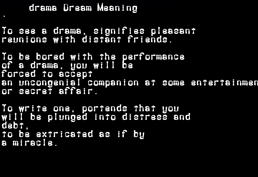 dream meanings drama
