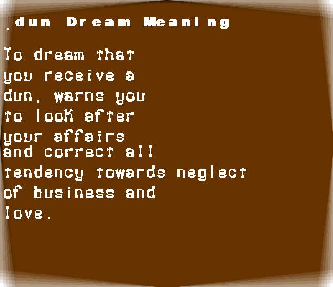 dream meanings dun