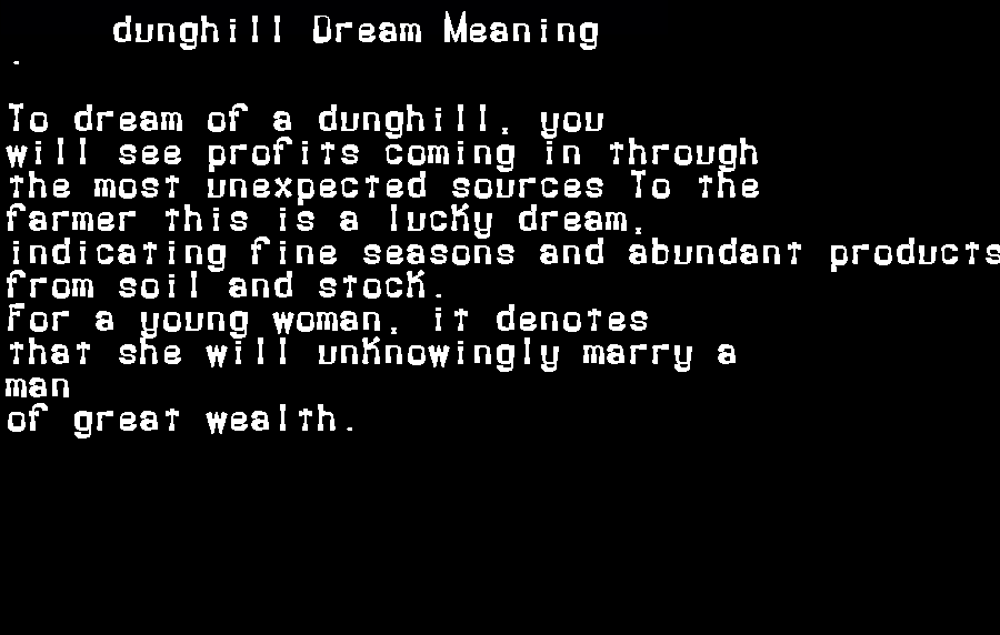 dream meanings dunghill