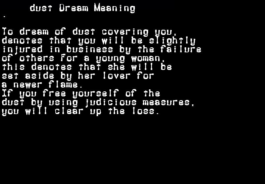 dream meanings dust