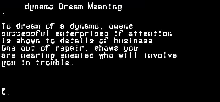 dream meanings dynamo