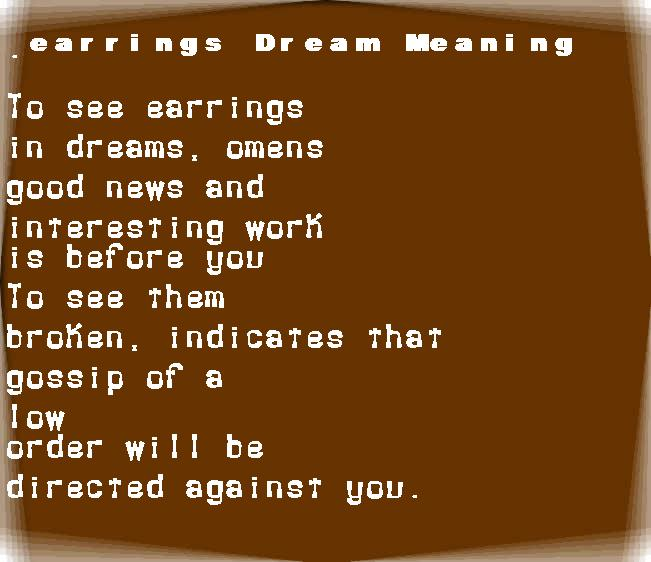 dream meanings earrings