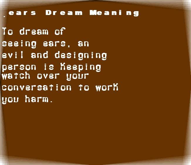dream meanings ears