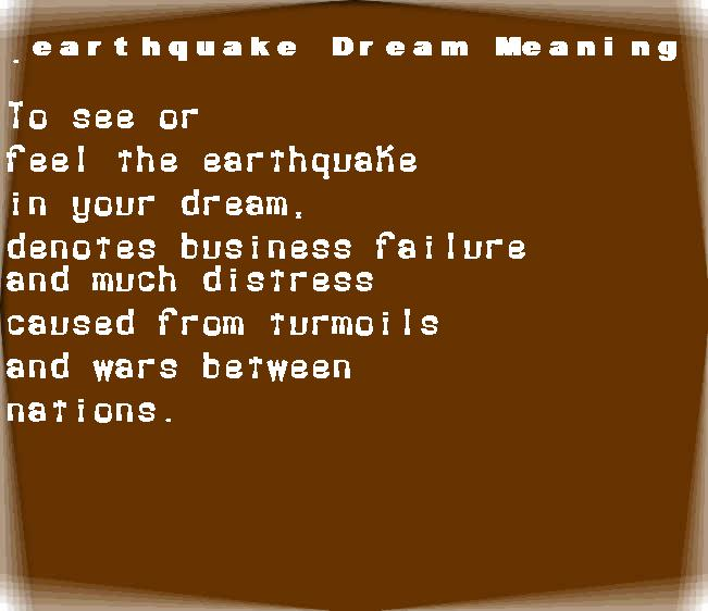 dream meanings earthquake