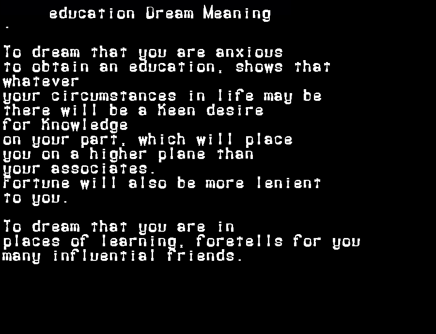 dream meanings education