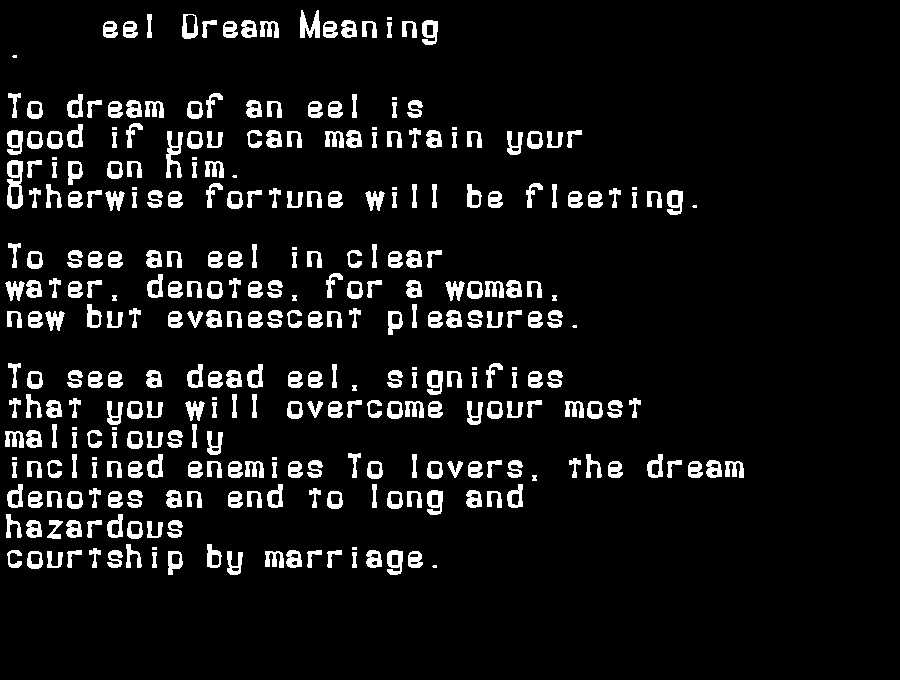 dream meanings eel