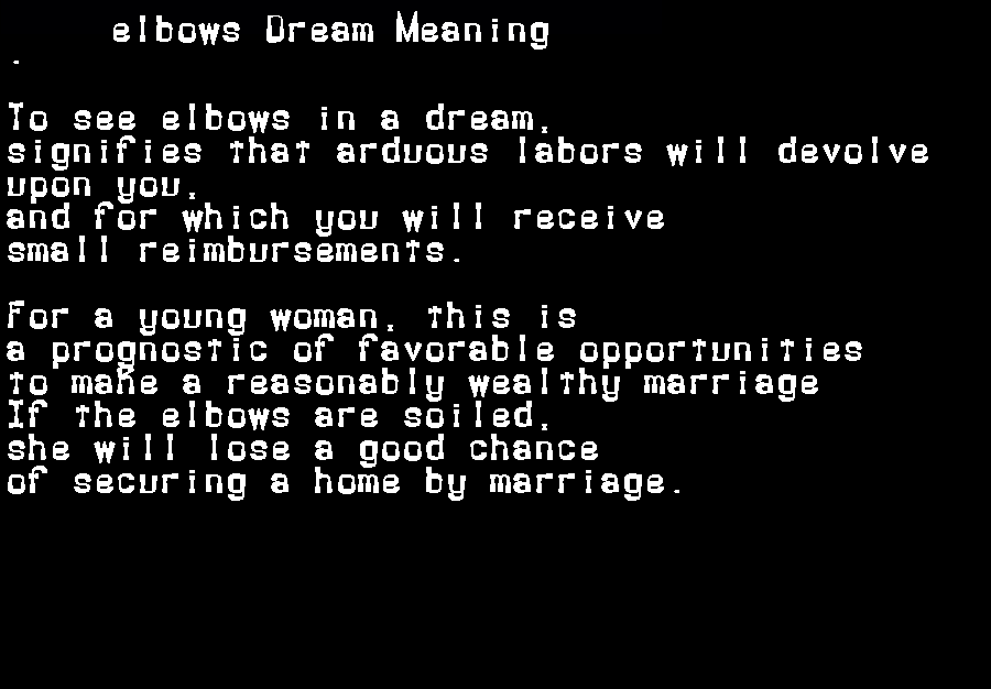 dream meanings elbows