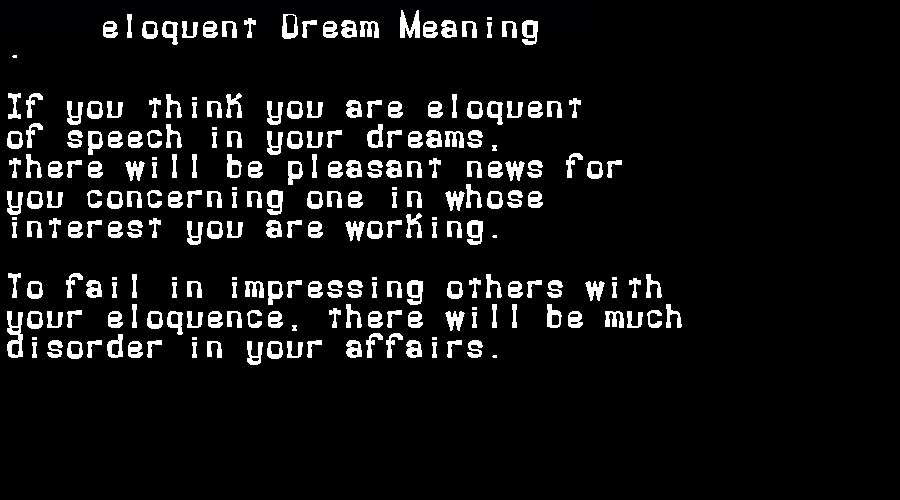 dream meanings eloquent