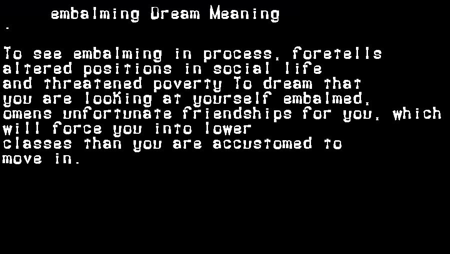 dream meanings embalming