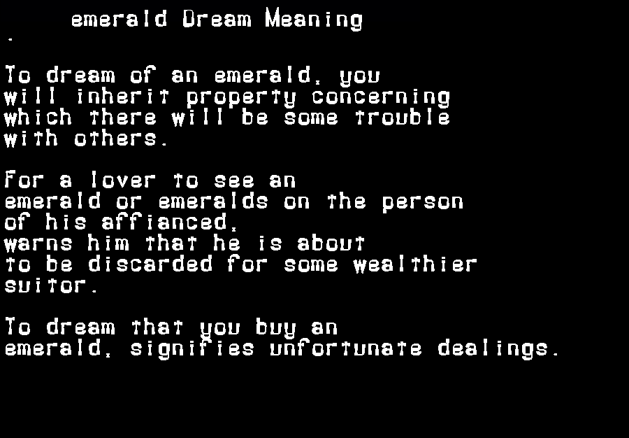 dream meanings emerald
