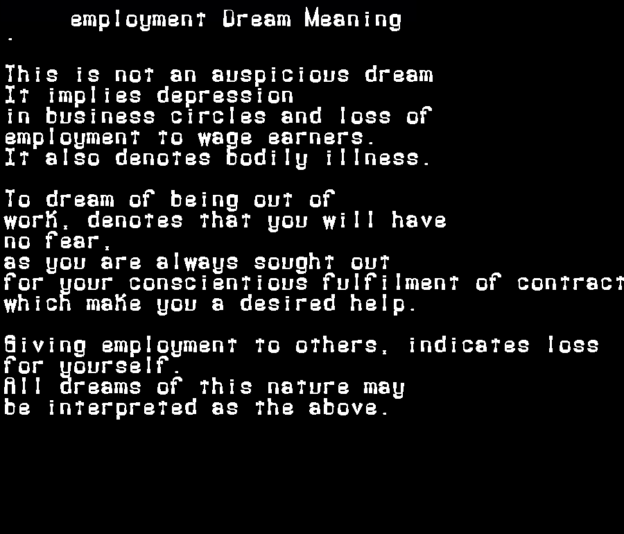 dream meanings employment