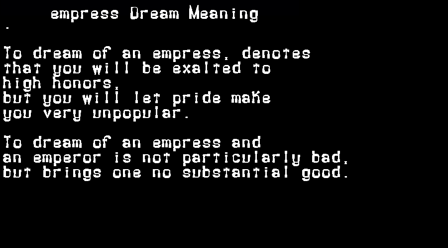 dream meanings empress