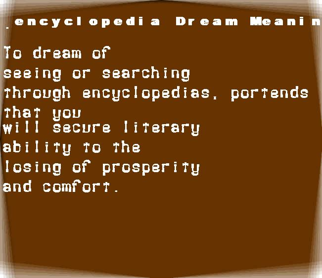 dream meanings encyclopedia