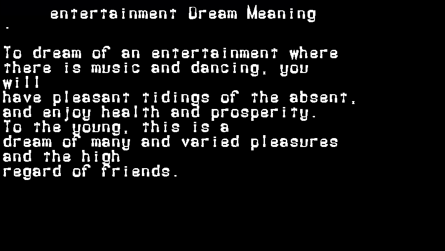 dream meanings entertainment