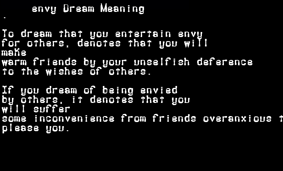 dream meanings envy