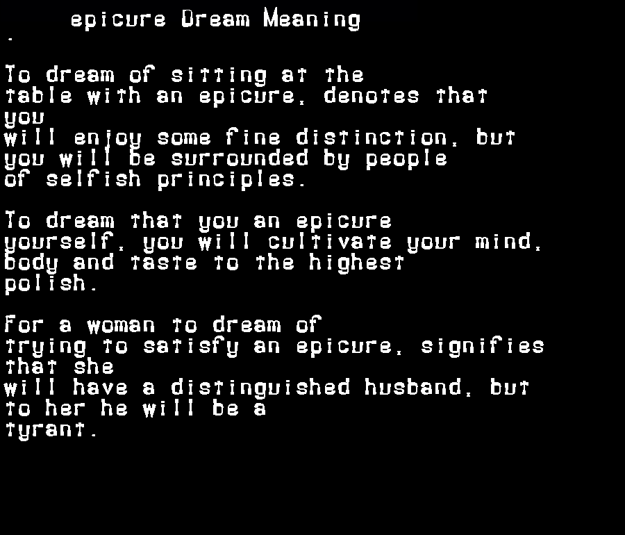 dream meanings epicure