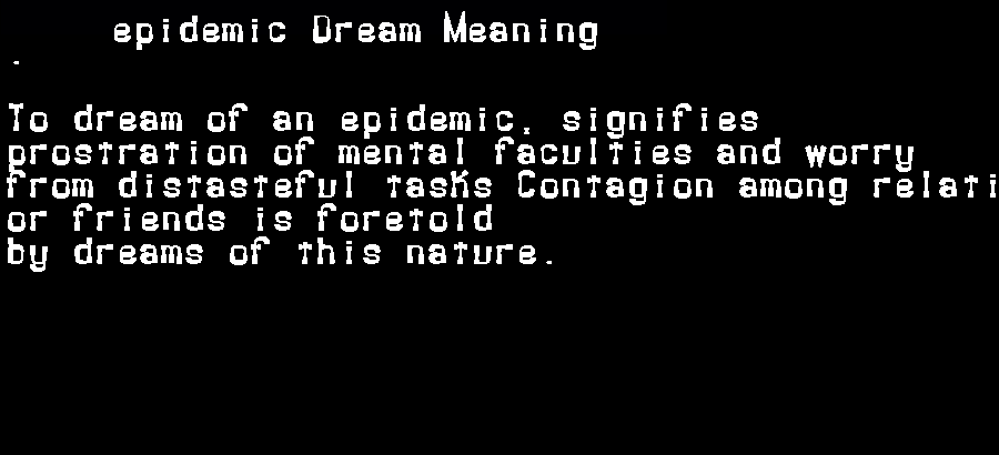 dream meanings epidemic
