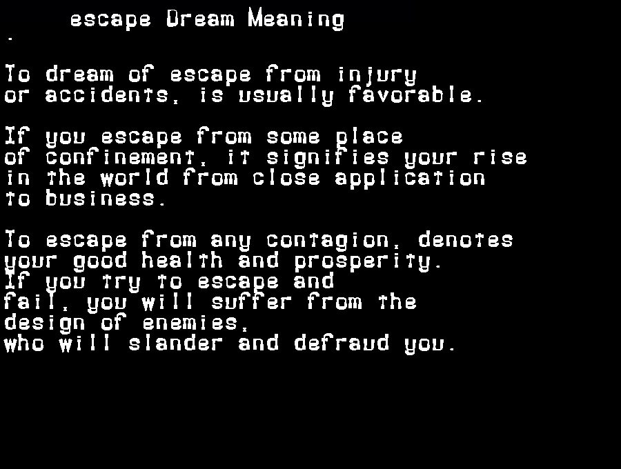 dream meanings escape