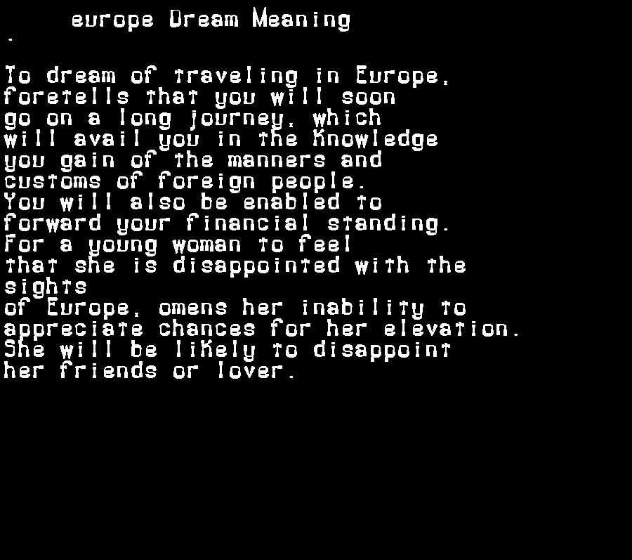 dream meanings europe