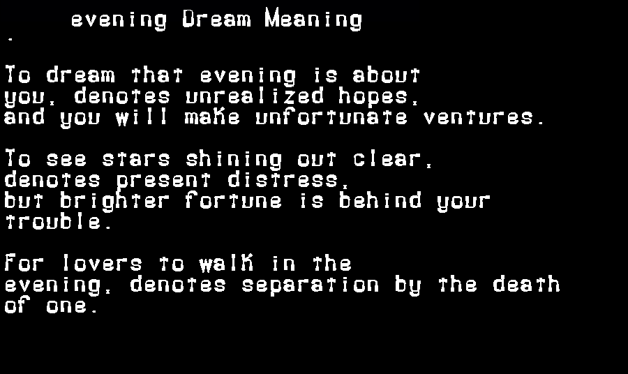 dream meanings evening