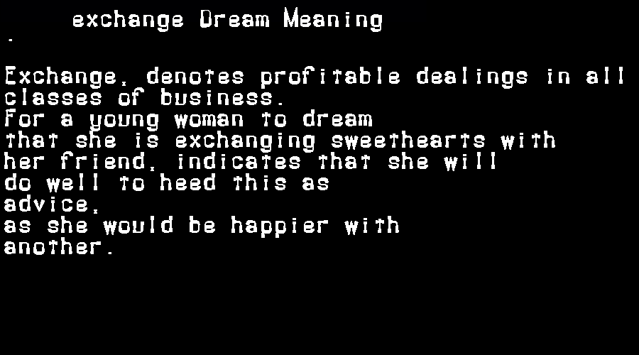 dream meanings exchange