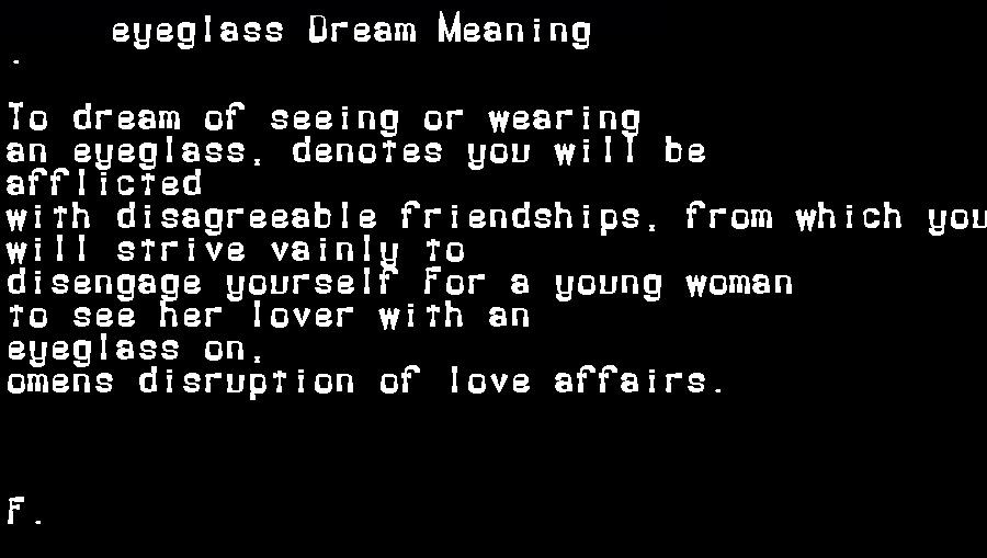 dream meanings eyeglass