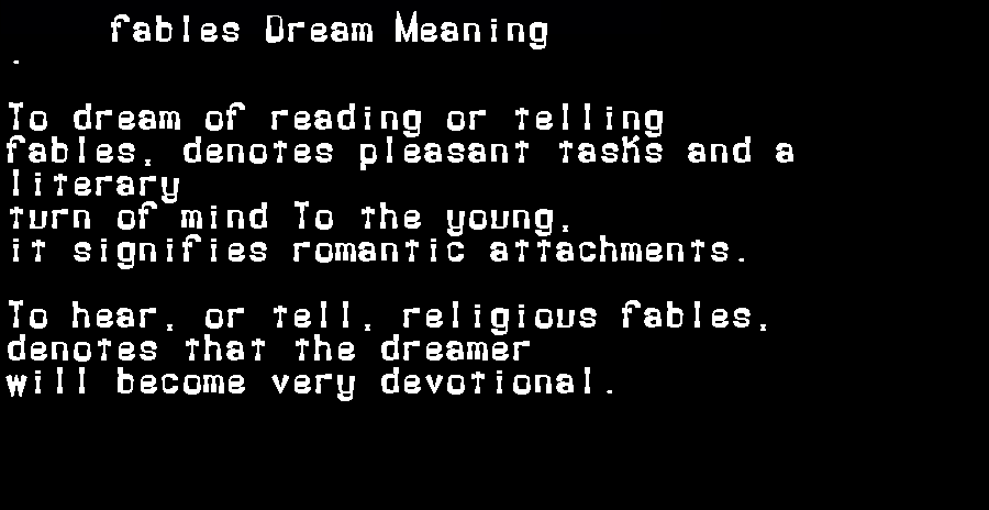 dream meanings fables