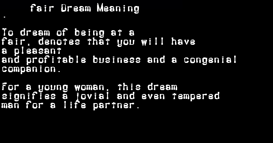 dream meanings fair