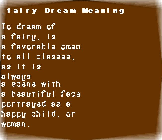 dream meanings fairy