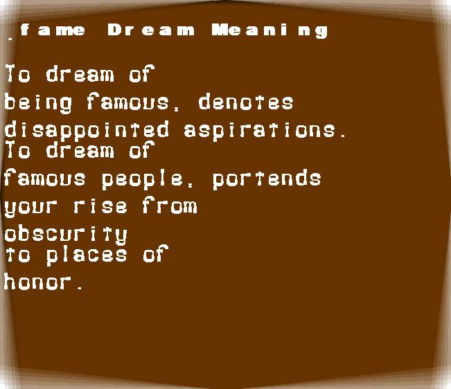 dream meanings fame