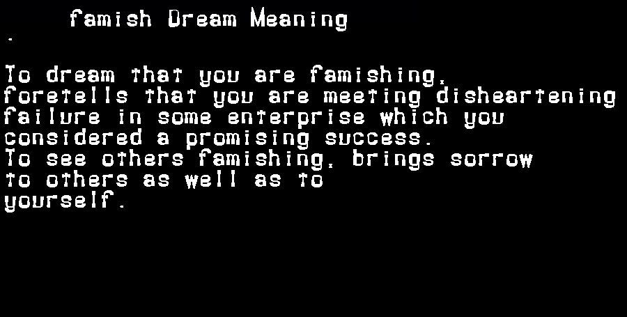 dream meanings famish