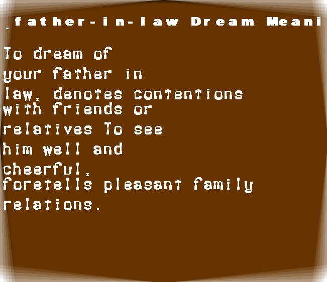 dream meanings father-in-law