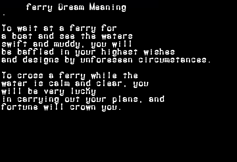 dream meanings ferry