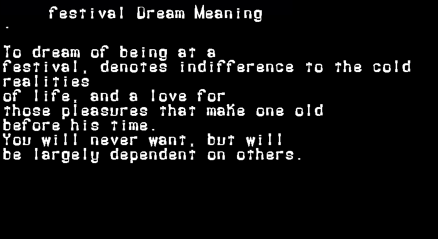 dream meanings festival