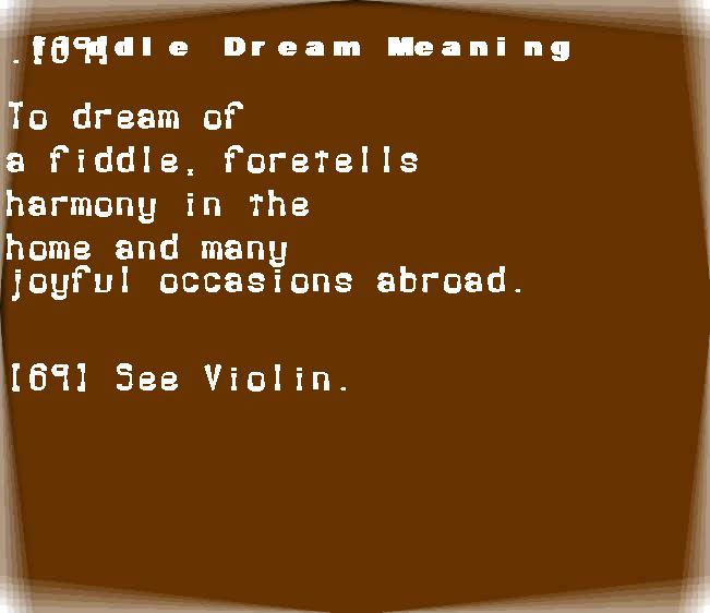 dream meanings fiddle