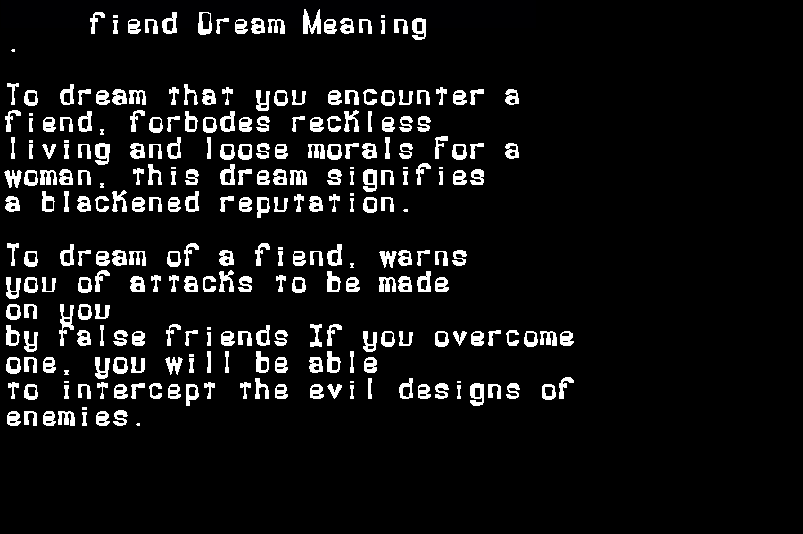 dream meanings fiend
