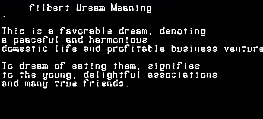 dream meanings filbert