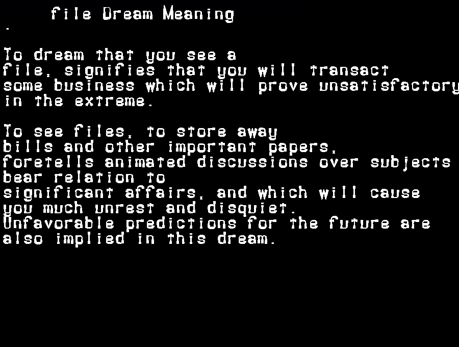 dream meanings file
