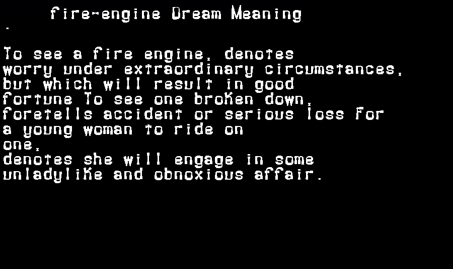 dream meanings fire-engine