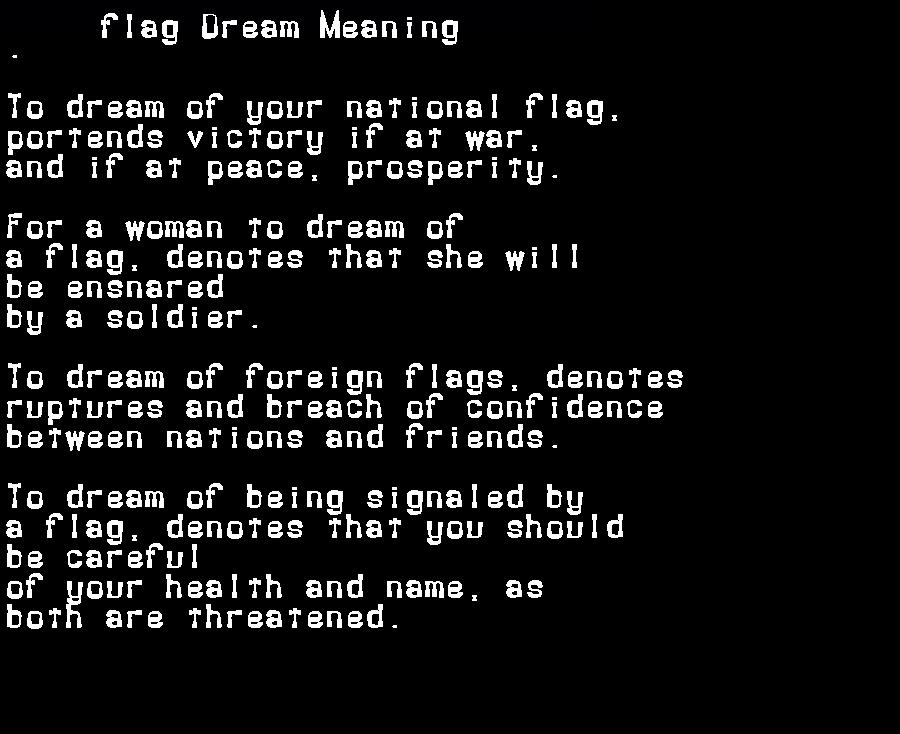 dream meanings flag