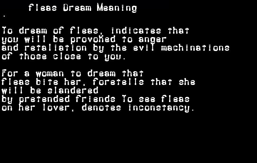 dream meanings fleas