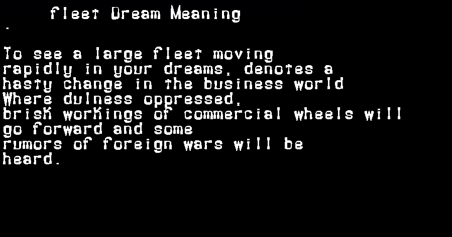 dream meanings fleet