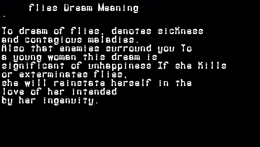 dream meanings flies